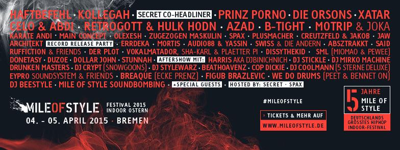 Mile of Style Festival mit Kollegah,Haftbefehl,Prinz Porno,Orsons uvm