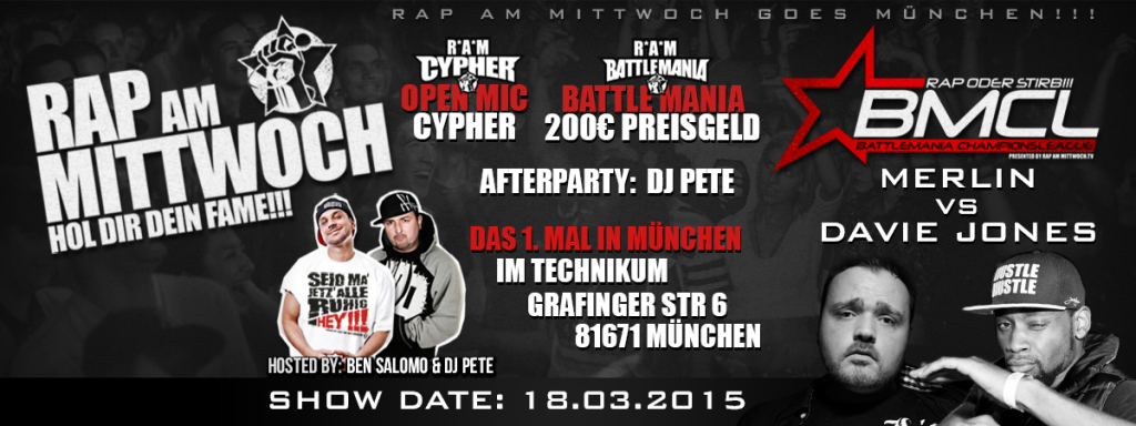 RAP AM MITTWOCH GOES MÜNCHEN AM 18.03. | @ TECHNIKUM | HOL