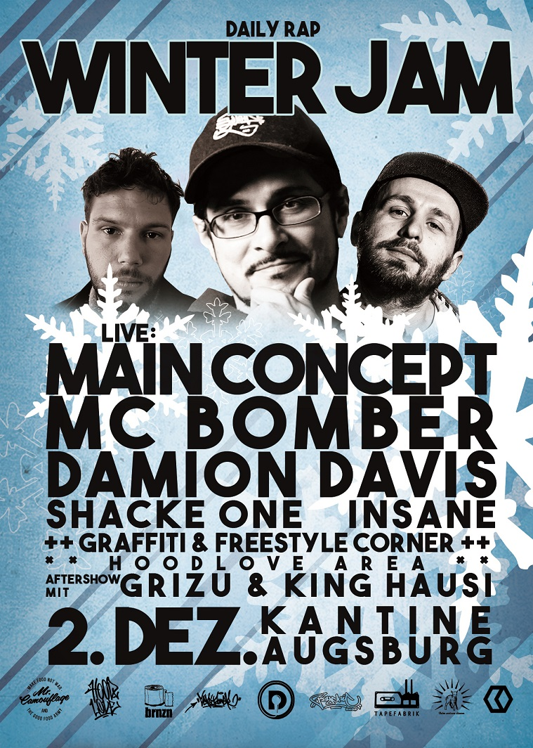 Daily Rap Winter Jam mit Main Concept, MC Bomber & Shacke One, Damion Davis und Insane // 02.12.2016 // Kantine Augsburg